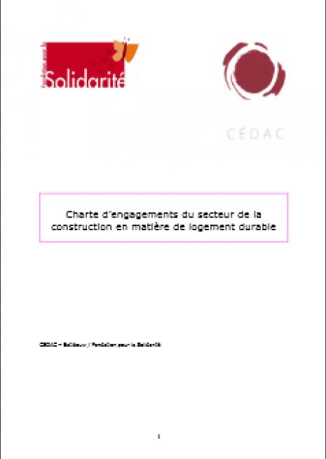 image couverture charte d'engagements du secteur de la construction en matière de logement durable