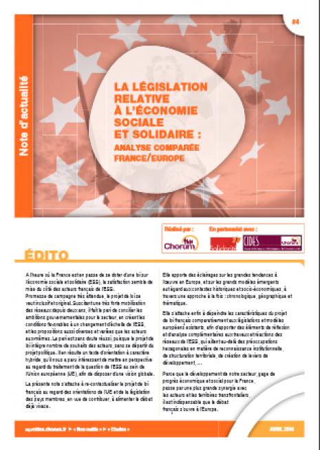 image couverture LA LÉGISLATION RELATIVE À L'ÉCONOMIE SOCIALE ET SOLIDAIRE : ANALYSE COMPARÉE FRANCE / EUROPE