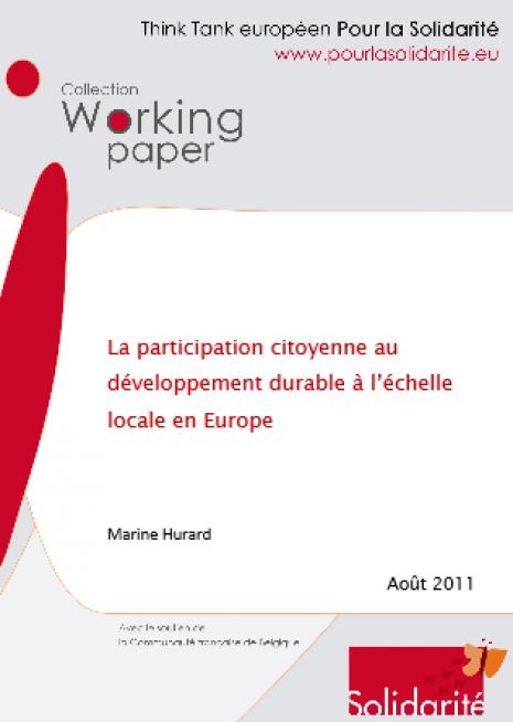 image couverture La participation citoyenne au développement durable à l'échelle locale en Europe