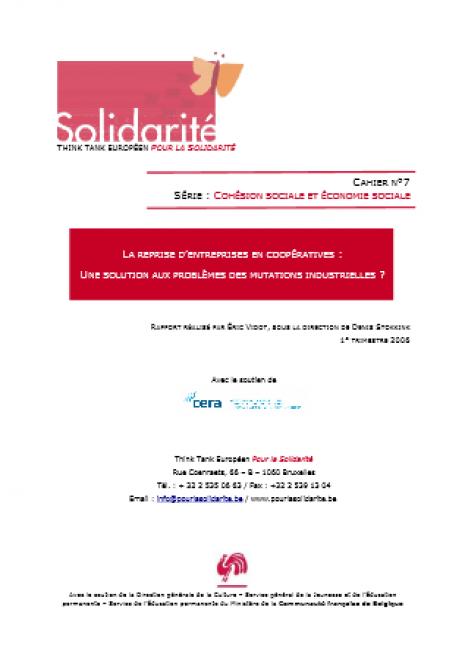 image couverture L A REPRISE D ' ENTREPRISES EN COOPÉRATIVES : U NE SOLUTION AUX PROBLÈMES DES MUTATIONS INDUSTRIELLES