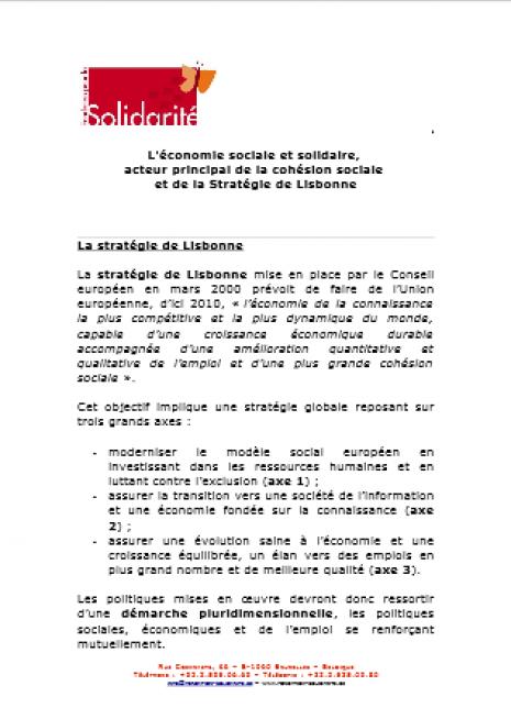 image couverture L'économie sociale et solidaire, acteur principal de la cohésion soc iale et de la Stratégie de Lisbonne